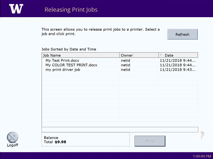 DP Release Station Print Queue Screen