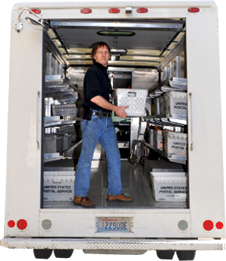 photo of staff person in Mailing Services truck