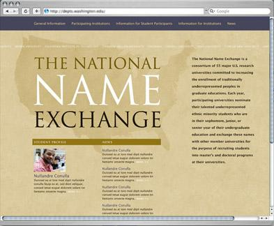 The National Name Exchange website