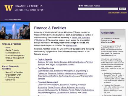 Finance & Facilities > homepage