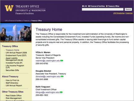 Finance & Facilities > Treasury Office landing page