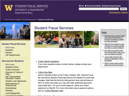 Finance & Facilities > Student Fiscal Services landing page