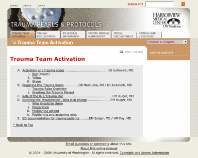 Harborview Trauma Center > Trauma Handbook > Chapter Index