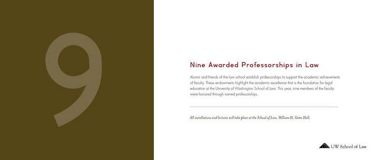 Nine Awarded Professorships in Law brochure