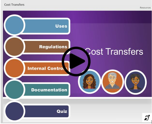 link to elearning on cost transfers