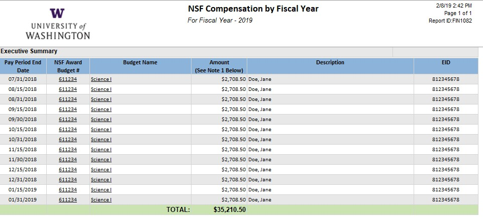 sample NSF compensation by fiscal year report