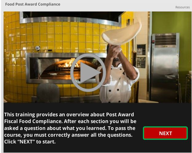 link to elearning on purchasing food on grants