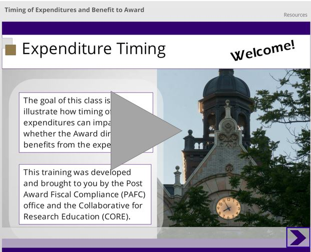 link to CORE class on expenditure timing