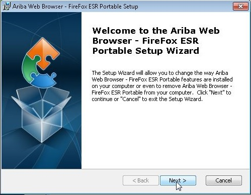 Step 5: Follow the script for the Ariba Web Browser - FireFox Setup Wizard