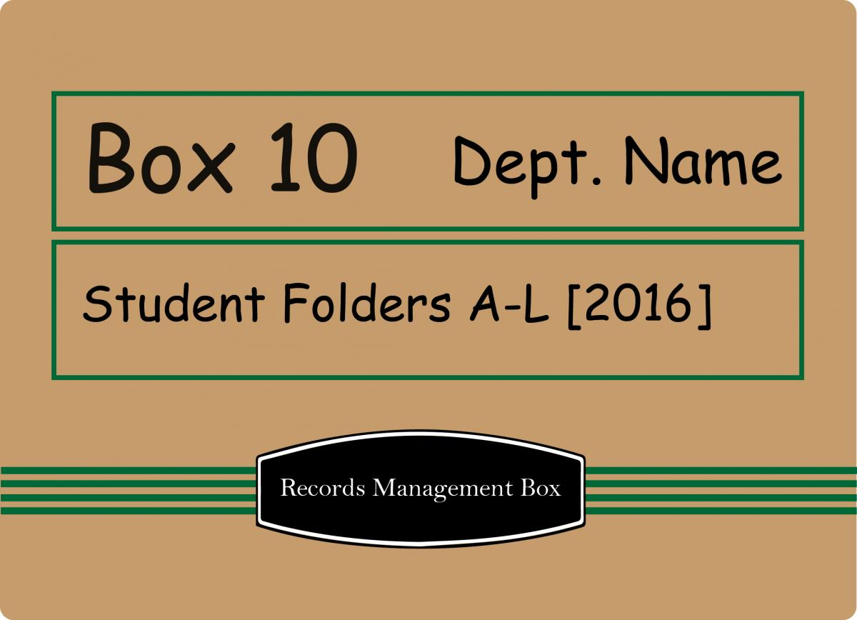 a box labeled with box number, department name, and records series name and year