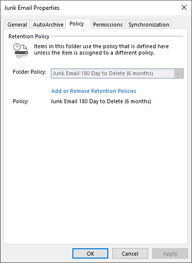 Screenshot of Junk Email Properties