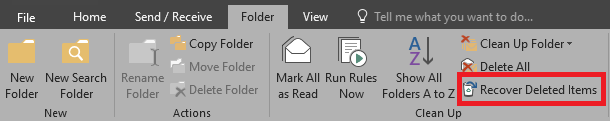 Screenshot of folder tab with recover deleted items highlighted