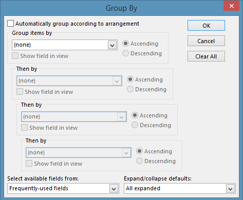 screenshot of Group By window