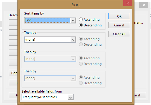 screenshot of Sort window with End selected