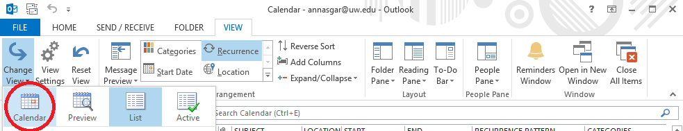 screenshot with red circle around Calendar option