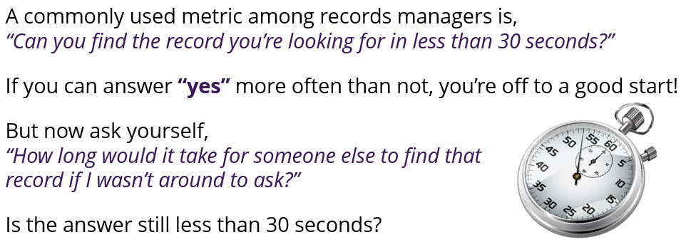 Ask yourself, can you find the records you're looking for in less than 30 seconds? What if someone else was looking for it; could they?