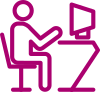 figure seated at computer icon