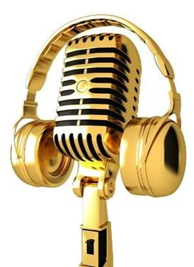 Gold microphone with gold headphones